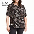 Kissmilk 2017 Women Plus Size Big Large Size 3XL 4XL 5XL 6XL Short Sleeve Casual Sexy Floral Print Tees Loose T-shirt Tops