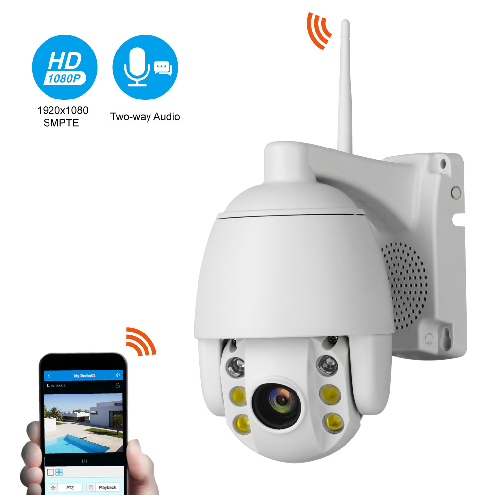 Seculink 1080P Dome IP Camera PTZ IR-Cut Night Vision Motion Detection Alarm 2-Way Audio WiFi Wireless IP65 WaterproofSeculink 1080P Dome IP Camera PTZ IR-Cut Night Vision Motion Detection Alarm 2-Way Audio WiFi Wireless IP65 Waterproof