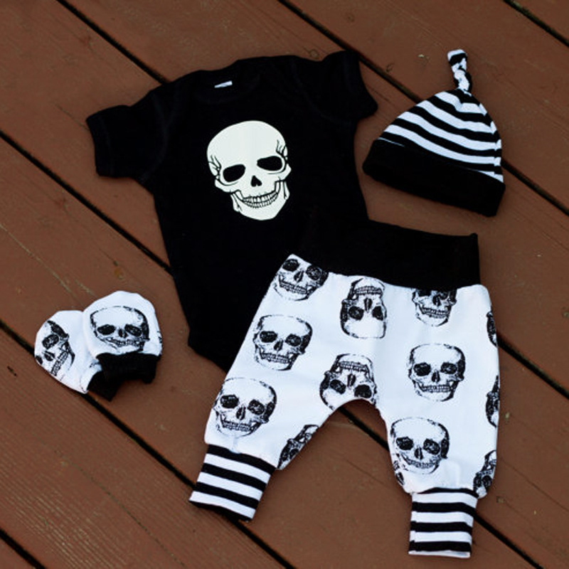 Four Kids'suits Of Summer Short-sleeved Halloween Skull Happy Clothes For Boys And Children In Europe And America