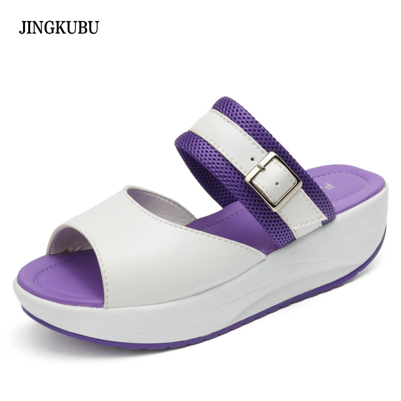 New 2017 Summer flip flops women Platform Sandals Women Wedges genuine leather open toe Shoes Women Swing Shoes Slippers Sandals mudibear women sandals pu leather flat sandals low wedges summer shoes women open toe platform sandals women casual shoes