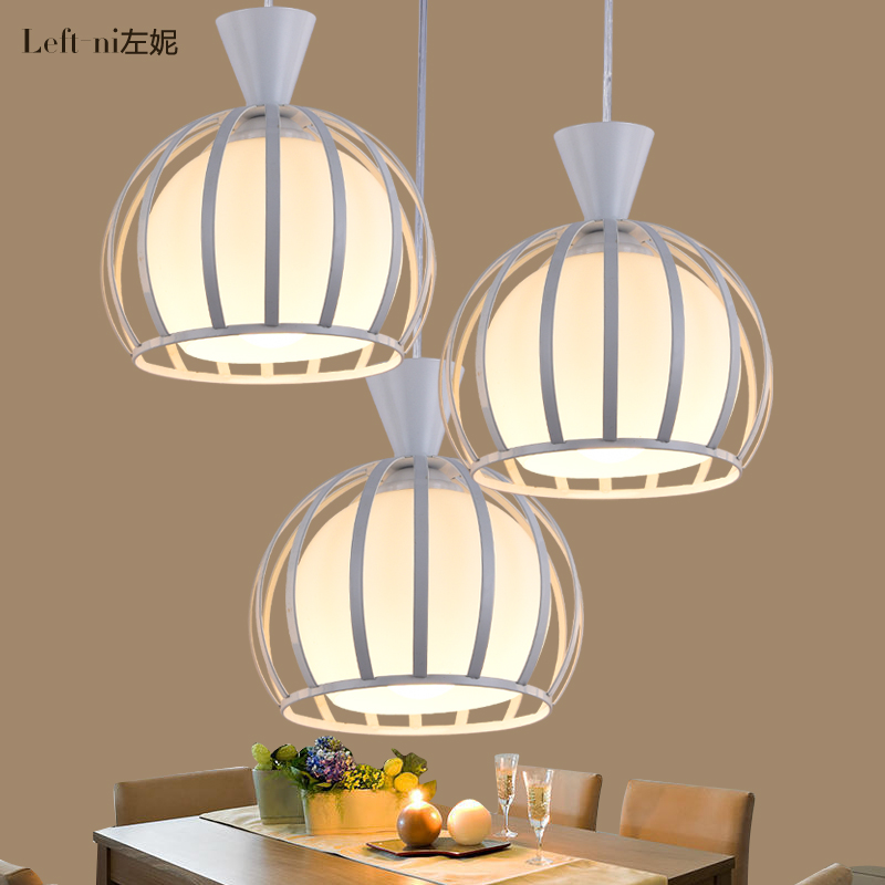 LED Single-end Iron Glass Droplight Simple Style Cafe Bar Counter Pendant Lamp