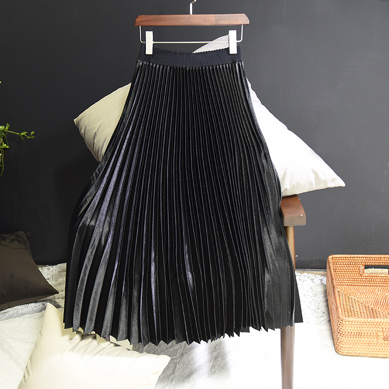 Sherhure 2018 Spring Women Long Skirts Fashion Brand A-Line Women Pleated Skirts High Waist Women Midi Skirt Faldas Mujer Saias 16