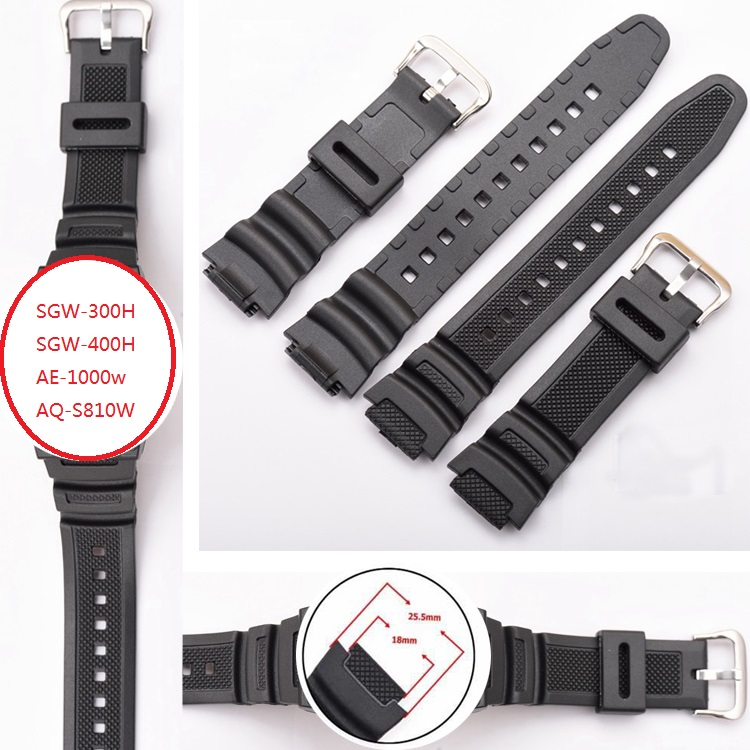Mr Neng Black Silicone Watch Band Strap Replacement Strap for SGW-300H SGW-400H AE-1000w AQ-S810W waterproof Sport Driving casio aq s810w 2a