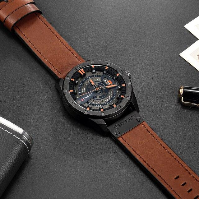 CURREN Luxury Genuine Leather Quartz Wrist Watch 4