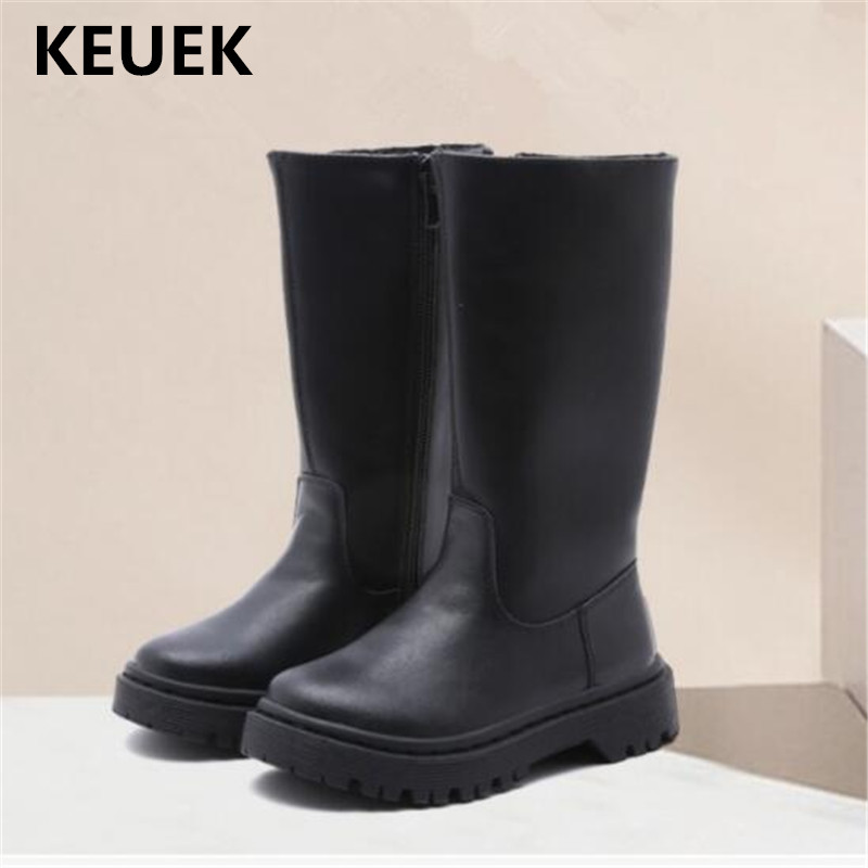 Black Toddler Boots | New Autumn/Winter Children Boots Baby Shoes Toddler Low Heeled Black High Boots Girls Princess Short Plush Kids PU Leather 02C