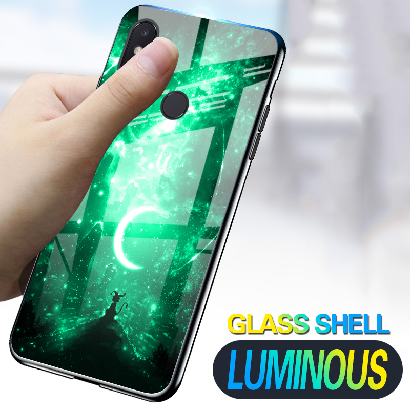 Luminous Phone <font><b>Cases</b></font> For Xiaomi <font><b>Mi</b></font> 8 SE <font><b>8SE</b></font> Mi8 Space Night Shine Glass <font><b>Case</b></font> For Redmi Note 5 Pro Global Y2 Cover Shell image