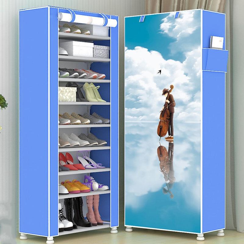 Fashion Modern Ten Layers 3D Pattern Cartoon Shoe Cabinet Non-woven Cloth Shoe Shelf Space Saver Shoe Rack Organizer