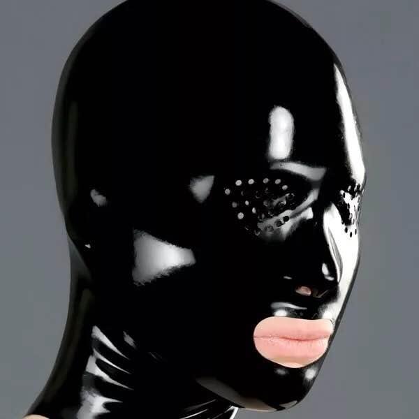 New Latex mask fetish unisex standard seamless hoods 3 size selectable with Net eyes nest hole style