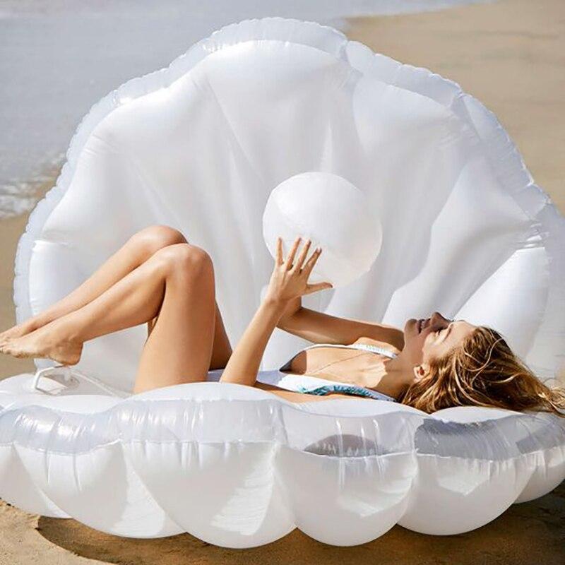 Plaisir de l'eau 173 cm Gonflable Coquillage Piscine Flotteur Géant Gonflable Clam Shell avec Perle Anneau De Natation pour Adultes Flotador Piscina