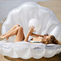 Water Fun 173cm Inflatable Seashell Pool Float Giant Inflatable Clam Shell with Pearl Swimming Ring for Adults Flotador Piscina