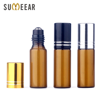 100Piece/Lot 5ML Empty Mini Essential Oil Bottles Amber Glass Bottle Roll On Refillable Perfume Bottle Travel Cosmetic Container