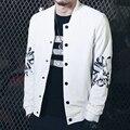 New 2016 Fashion Men's Hoodie Sweatshirt Jacket Men Buttons Baseball Collar Slim Sweatshirts Male Hip Hop Print Casual Coats Man