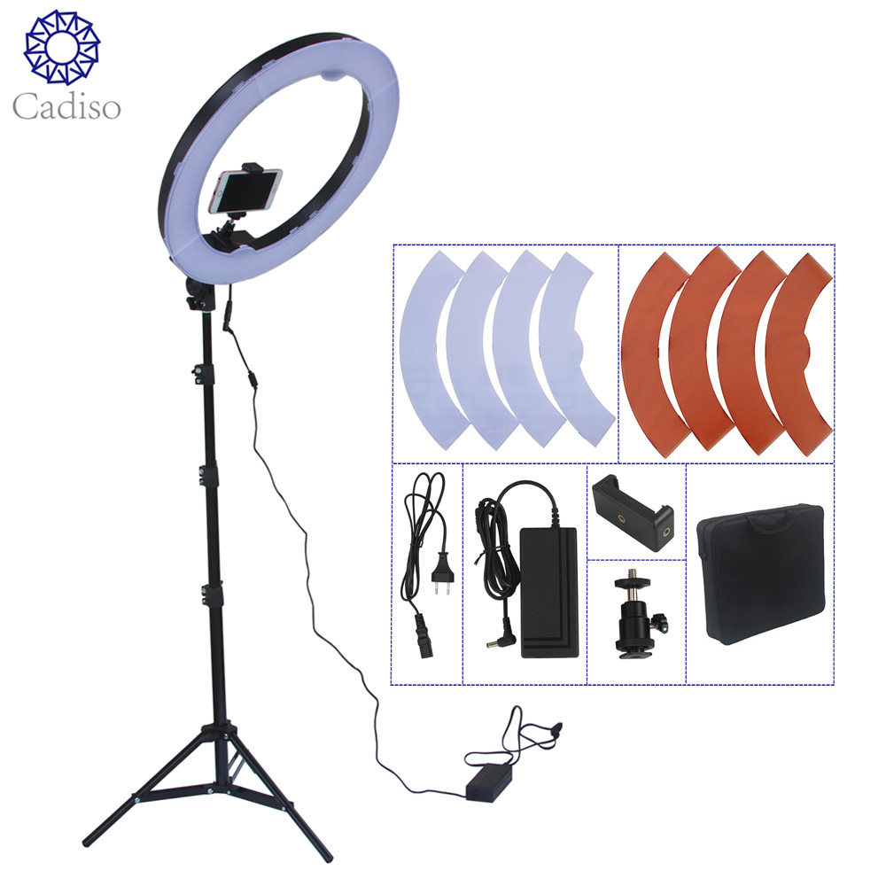 Cadiso Camera Photo Studio Phone Video 18inch 55W 240PCS Ring LED Light 5500K Photography Dimmable Ring