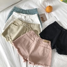 купить Elegant Ripped Hem Denim Shorts 2019 New Summer Mid Waist Zipper Fly Casual Woman Bottoms Straight Leg Loose Shorts Jeans по цене 1033.47 рублей