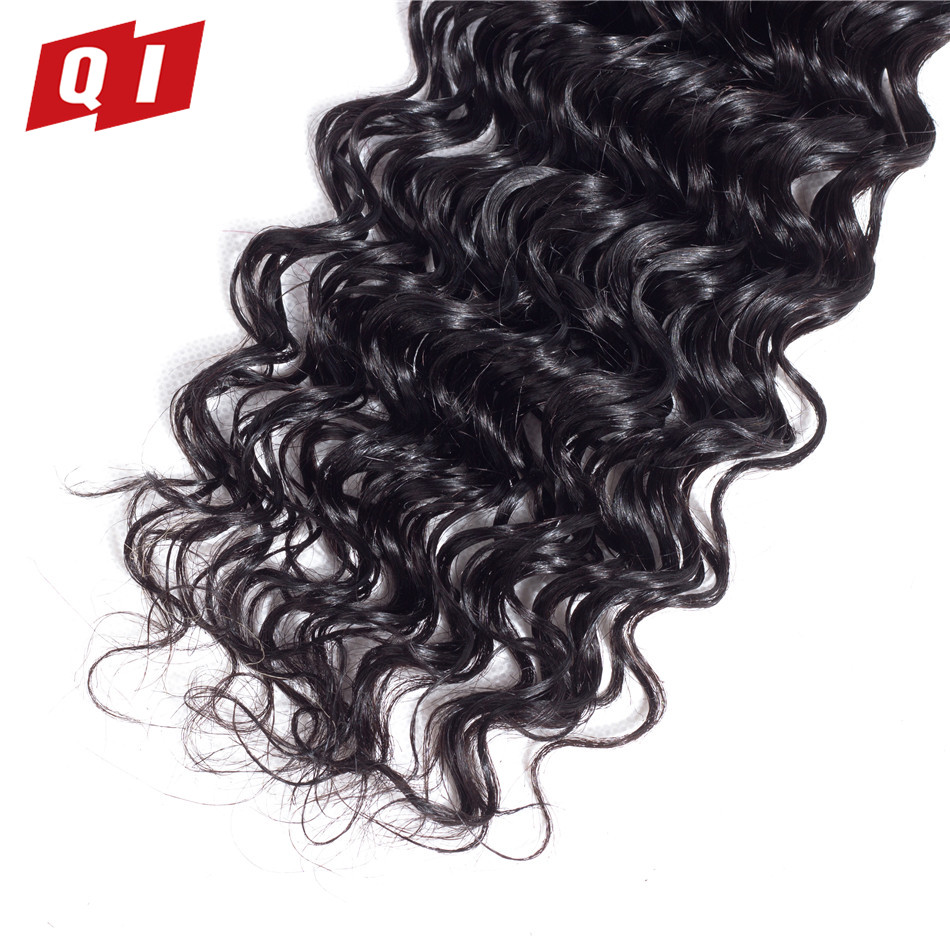 QI Hair Brazilian Human Hair Deep Wave Bundles With Closure Natural Color Human Hair 4 Bundles With Closure Hair Extensions