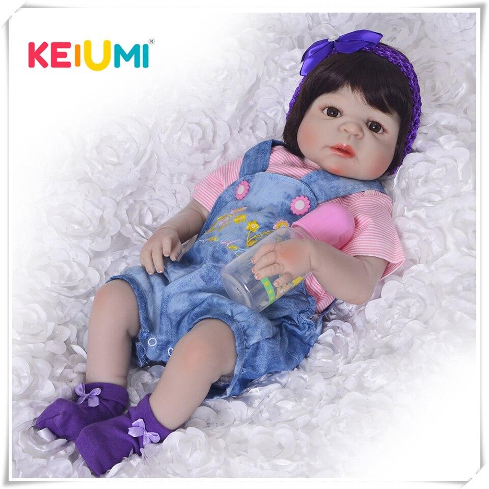 KEIUMI nouveauté Bébé Fille poupées Reborn Enfants Jouet Plein Silicone Vinyle 23 ''57 cm Réel Vie Bébé Reborn Doll En Vie COLLECTION
