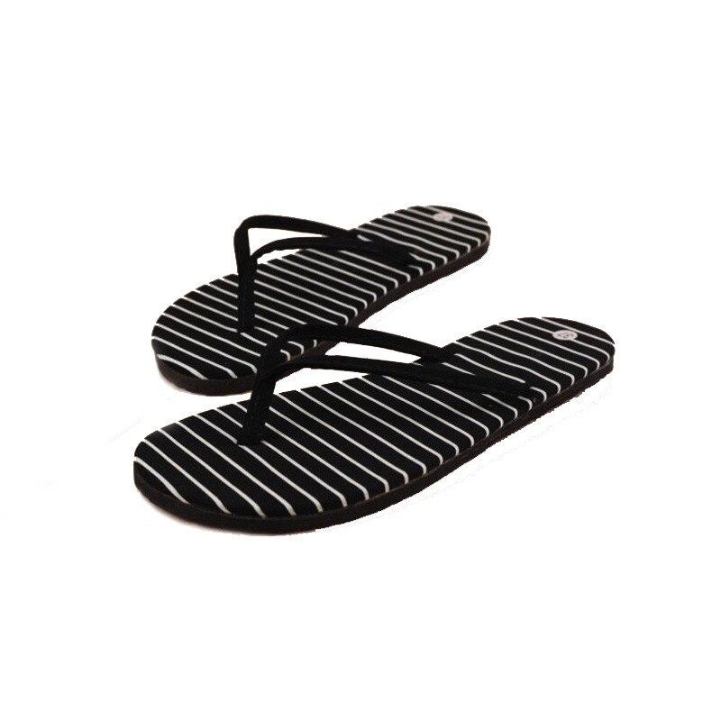 1 Paar Flache Hausschuhe Frauen Schuhe Flip-flops Sommer Strand Schuhe Massage Hausschuhe Schwarz Gestreiften Pantufa Zapatos De Mujer Hohe Belastbarkeit
