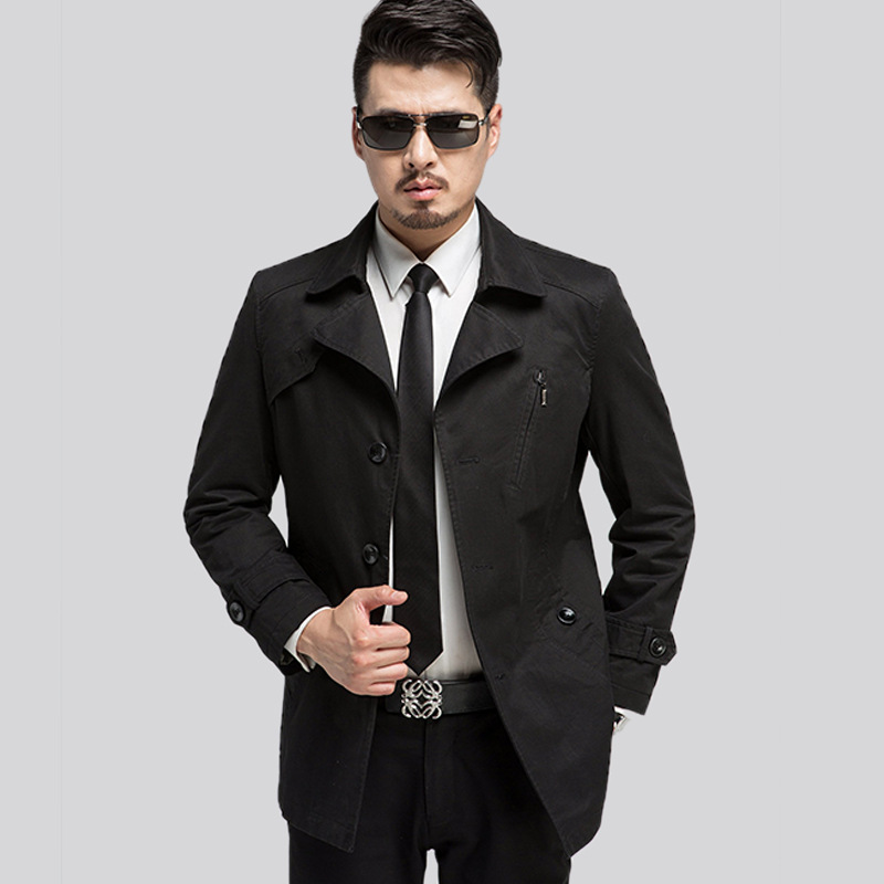 2017 New High Quality Spring Autumn Trench Coat Men Solid Slim Fit Cotton Men Casual Jacket Outwear Mens Long Coat Manteau Homme