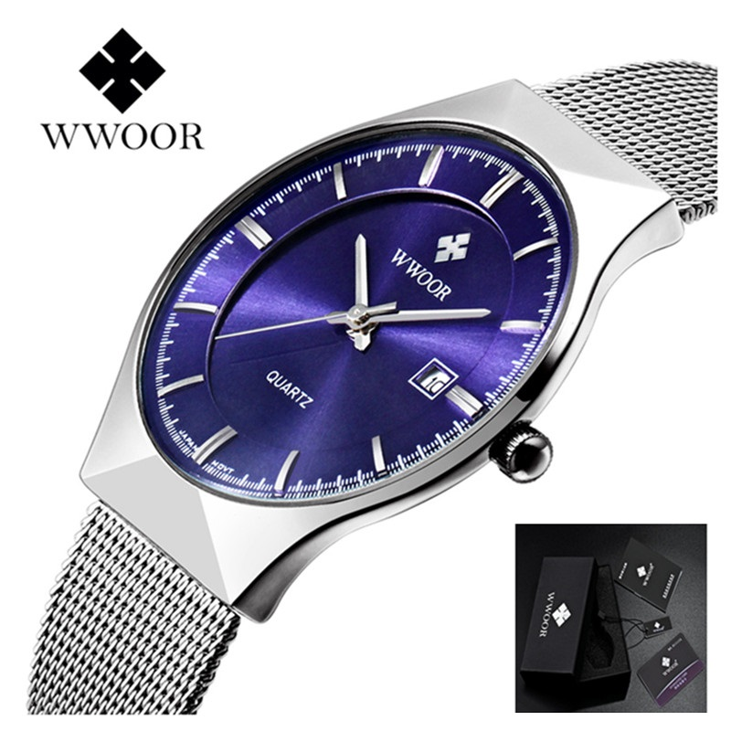 Brand WWOOR Watch Men Waterproof Fashion Casual Watches Men Stainless Steel Quartz Wristwatches relogio masculino Male Clock