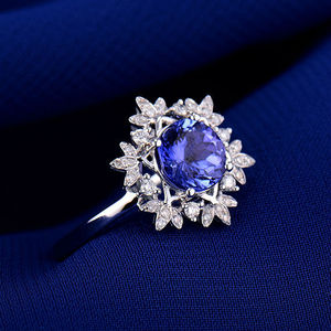 Image 3 - Natural AAA Tanzanite Rings 18K White Gold Round 7mm Natural Diamond Tanzanite Ring Fine Tanzanite Jewelry WU271