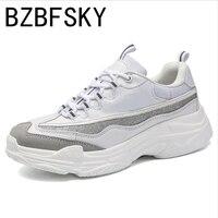 Venta BZBFSKY zapatillas de deporte con brillo suela gruesa para mujer zapatos cómodos para caminar zapatos de