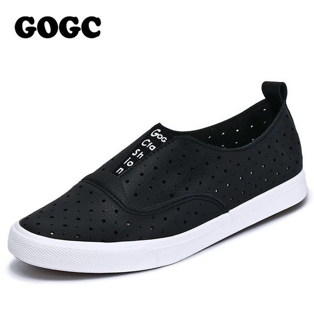 GOGC 2017 Slipony Women Hole Shoes Ladies Leather Shoes Women Flats Shoes Slip on Walking Shoes