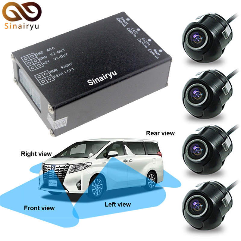 Sinairyu 4 Channels Video Control Car Image Switch Combiner Box with Front Rear Right Left View with 4 Cameras Parking System