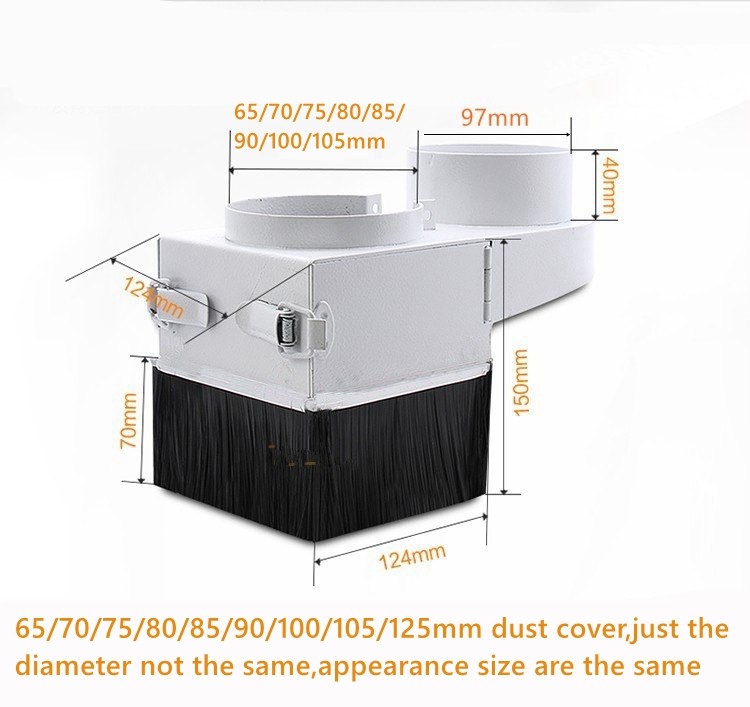 XHGMAK removable cnc dust collector cover diameter 65mm 70mm 75mm 80mm 85mm 90mm 100mm 105mm 125mm for CNC engraving machine
