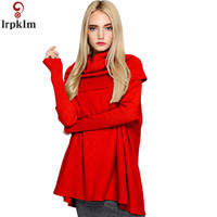 Women Winter Autumn High Collar Sweater Irregular Long Sleeve Loose Sweaters For Female Winter Pullover Wool Knitted Clothes