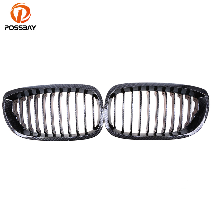 POSSBAY Car Imitation Carbon Fiber Front Grill Grilles