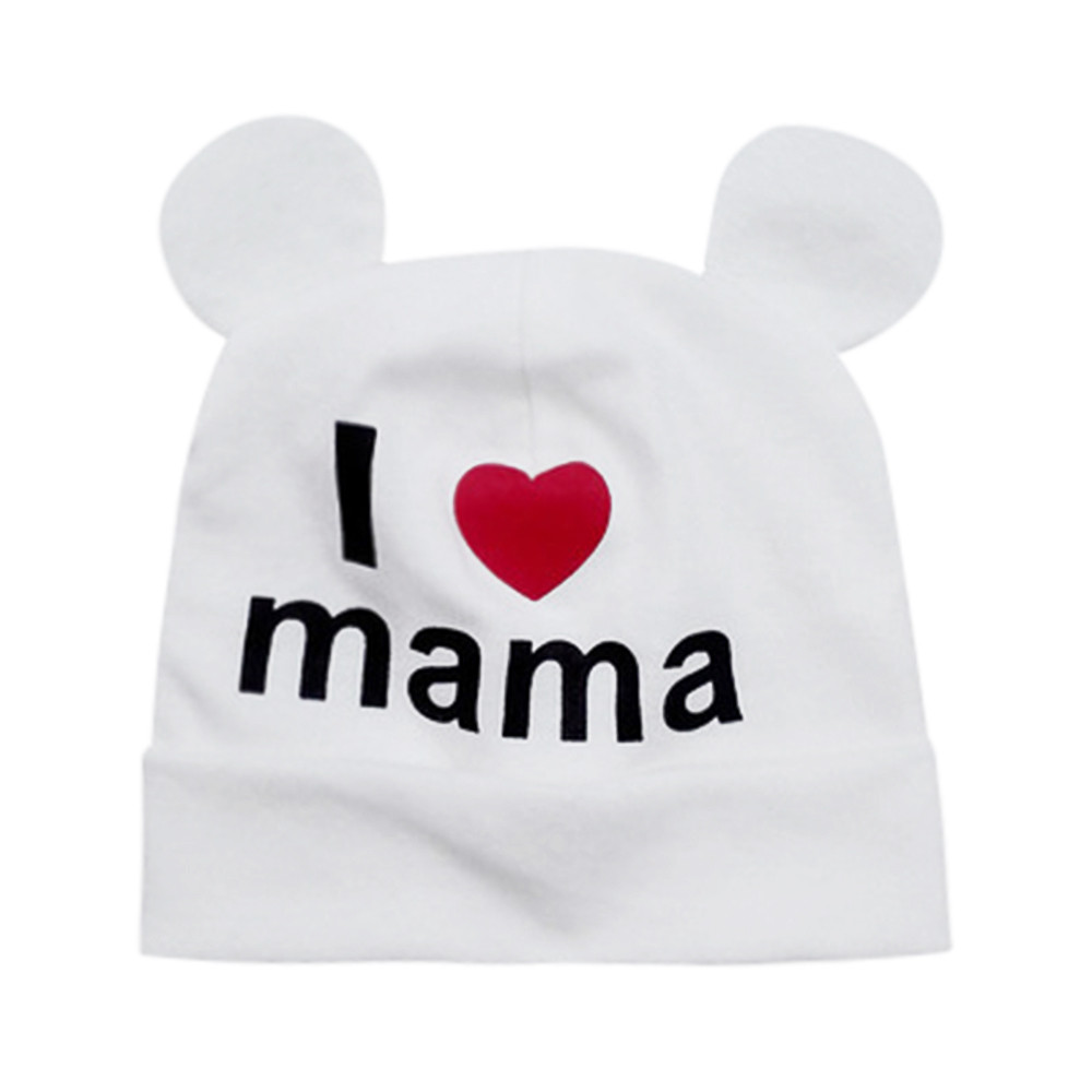 newborn spring and winter warm Printing Sleeve Cute Infant Baby Girls Boys Cartoon Love Letter Print Sleep Cap Headwear head Hat