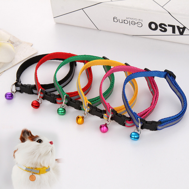 Hot Cute Dog Collar Buckle Bell Strap Adjustable Strap Night Glossy Reflective Safety Pet Collar #3