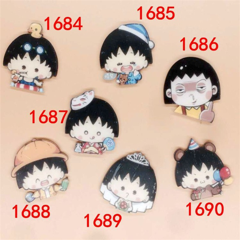 1 PC Cartoon Acrylic Brooches Cute Chibi Maruko chan Badge Brooches ...