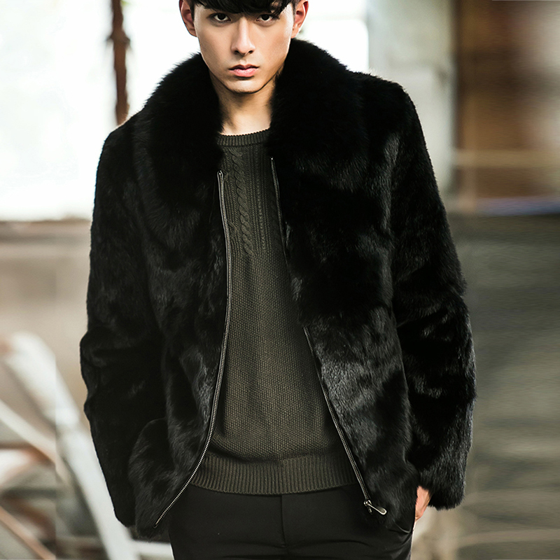 FURSARCAR 2020 New Black Short Rex Rabbit Fur Jacket With Fox Fur Collar For Men Fashion Natural Winter Fur Thick Warm Coat