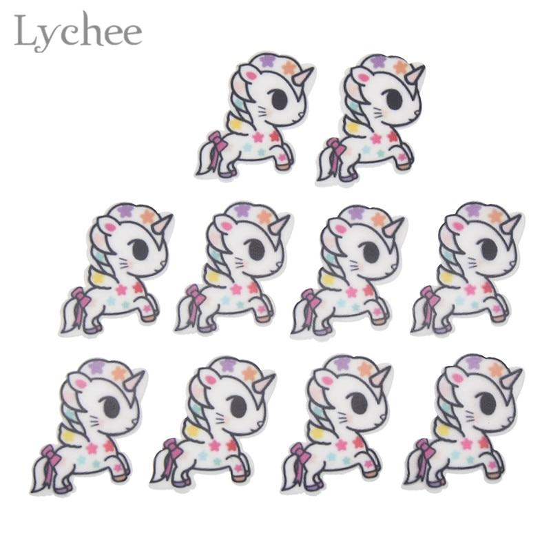 Lychee 6 Styles Cute Cartoon Unicorn Sticker Acrylic Flatback Sticker For DIY Birthday Party Baby Shower Decoration