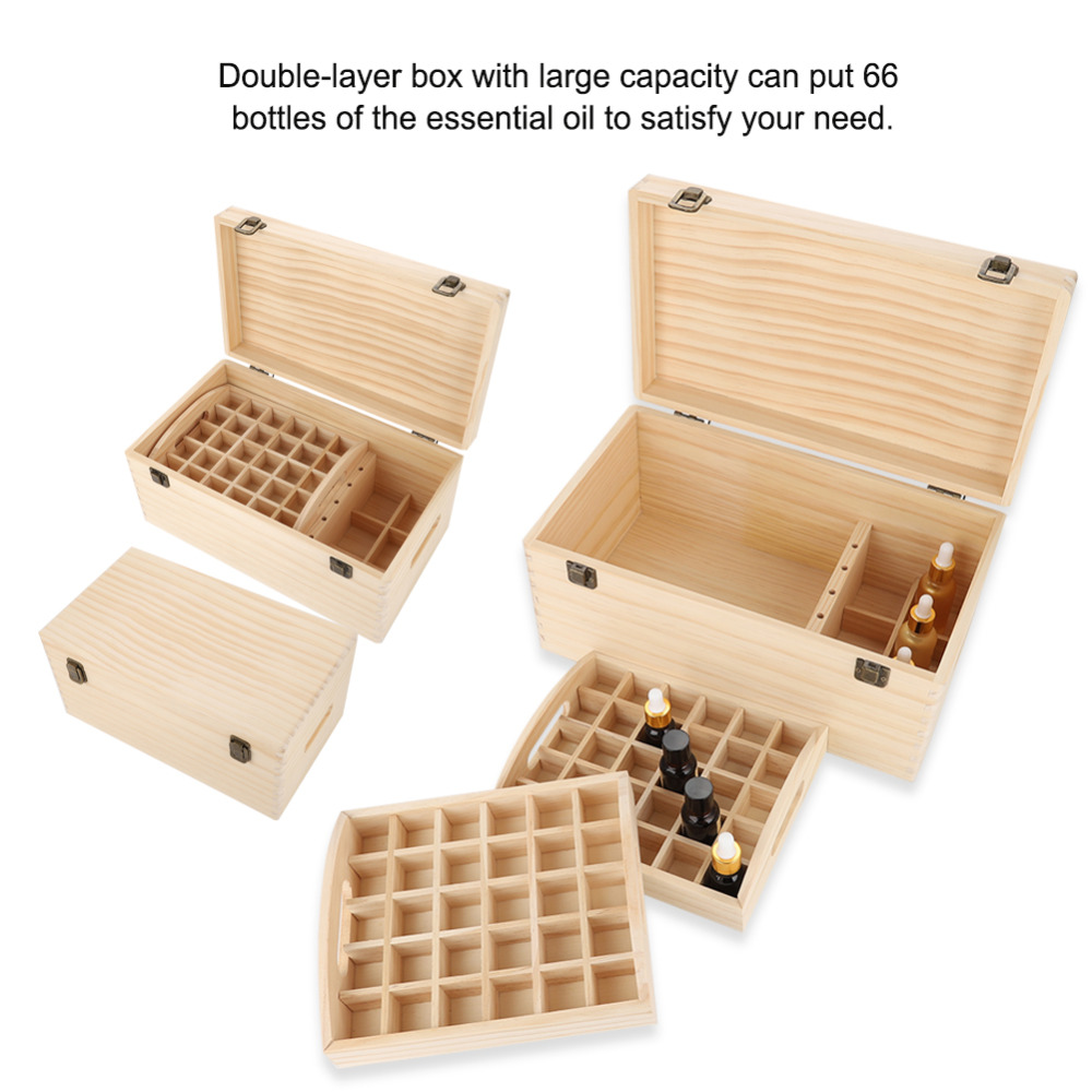 Double-layer 66 Grids Essential Nail gel Oil Wooden Storage Box Case Wood Nail Gel Oil Bottle Display Stand Holder Box Nail Tool nail art box 3 layer multi utility storage case professional manicure kit nail tool makeup box large size