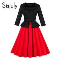 Sisjuly 1950s Vintage Dresses Autumn Red Color Block Double Layer Square Neck Mid Calf Female Dresses