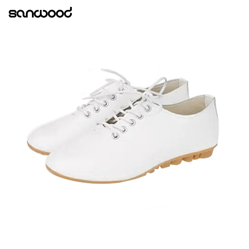 Classic Women Girl Flat Lace Up Faux Leather Round Toe Casual Walking Shoes