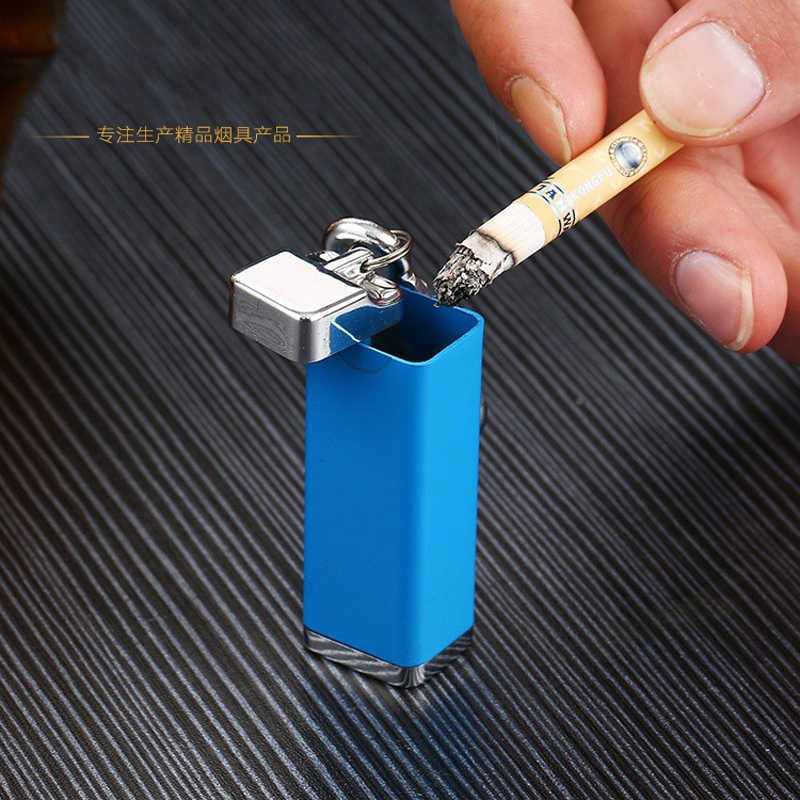 Mini Bolsillo port/átil Tapa cenicero a Prueba de Viento Cadena dominante Accesorios para Fumar al Aire Libre Azul Junlinto Mini cenicero