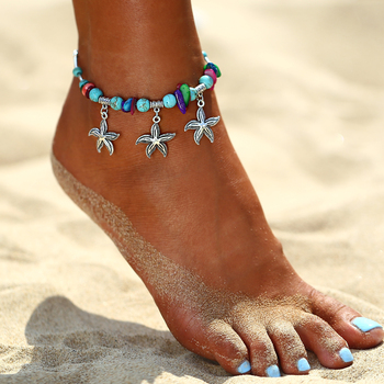 IF ME Bohemian Starfish Beads Stone Anklets for Women BOHO Silver Color Chain Bracelet on Leg Beach Ankle Jewelry 2018 NEW Gifts 2