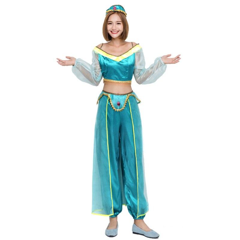 Adults Women Halloween Aladdin Princess Jasmine Suit Green Cosplay Costume Dress