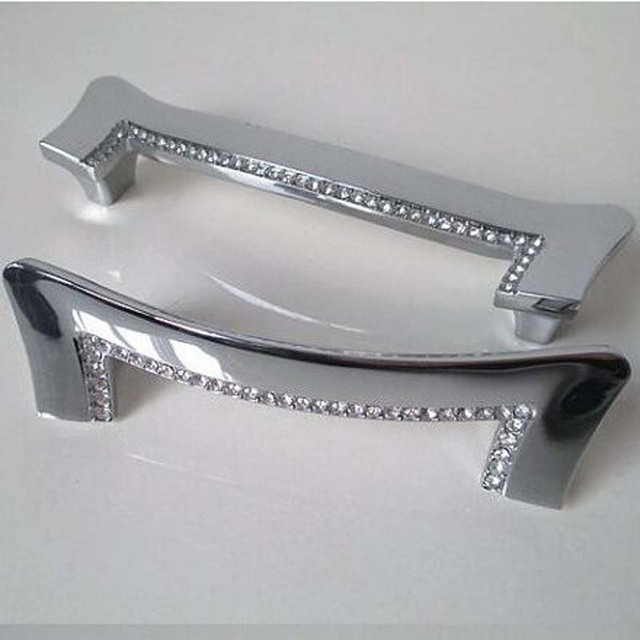 128mm silver kitchen cabinet handle chrome cupboard pull glass diamond drawer dresser door pull fashion furniture handles 5''