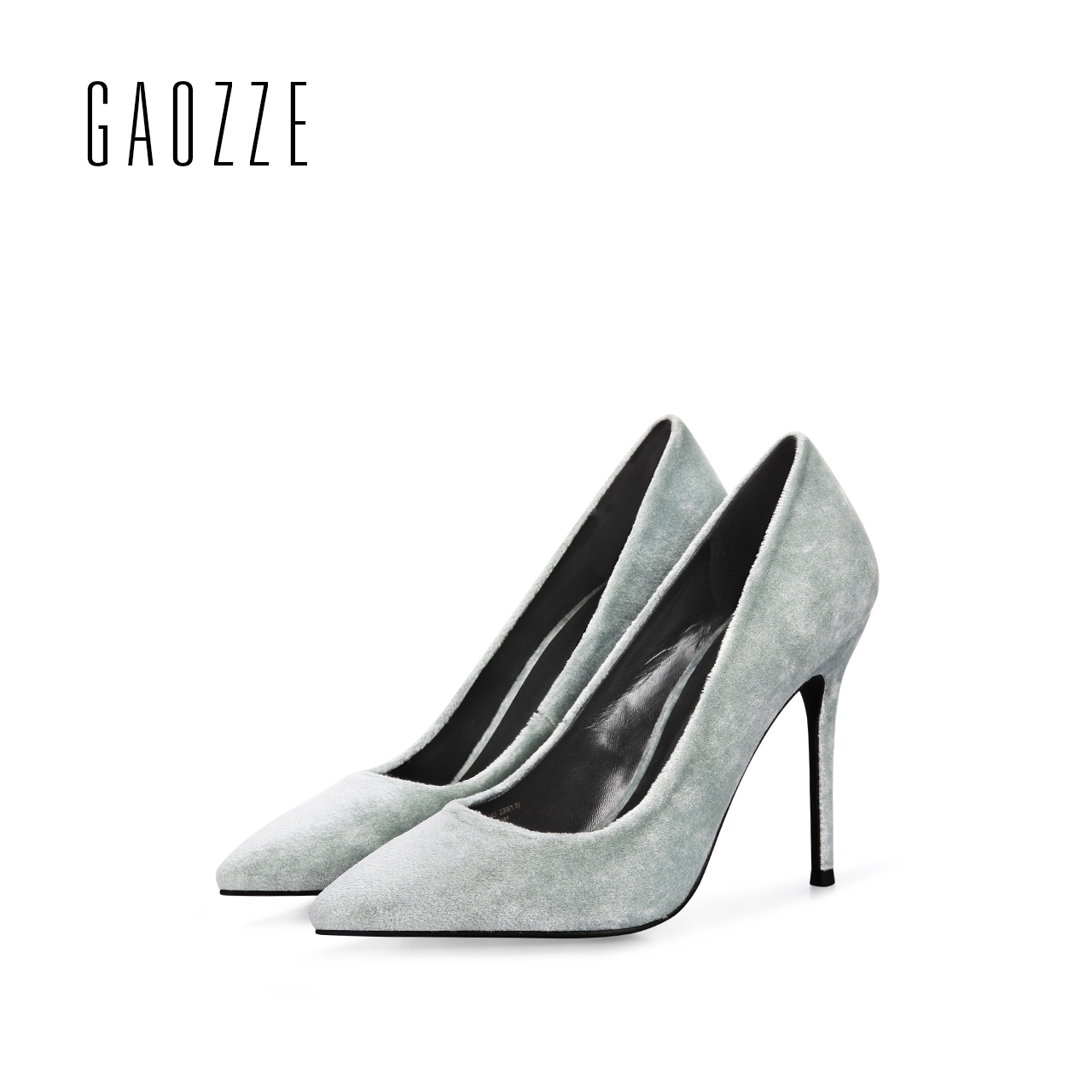 GAOZZE 2017 spring summer velvet women high heels shoes pointed toe shallow mouth shoes 10CM high heels wedding shoes female 2017 spring and summer new women s shoes female pointed shallow mouth slope with high heel shoe side empty leather woman s shoes