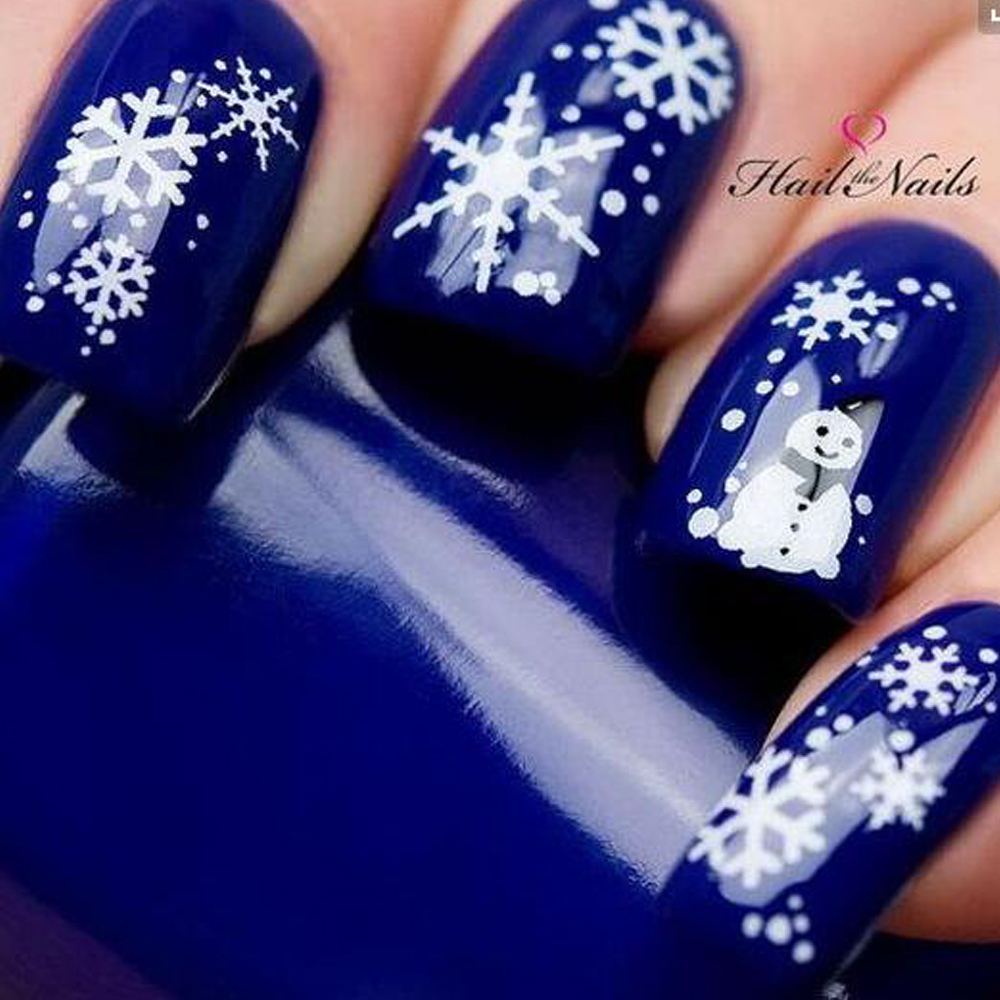 1 Sheet Water Nail Sticker Christmas Design Temporary Tattoos Elk/Snow Flowers/Owl Pattern Transfer Beauty Nail Art TRSTZ429-439 1