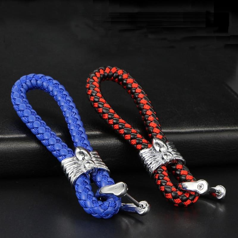 Pu Leatherwear Knitted rope Spider sculpt Car key ring Key chain for Vw polo tiguan golf 7 4 6 passat b6 b5 b7 touran Gift