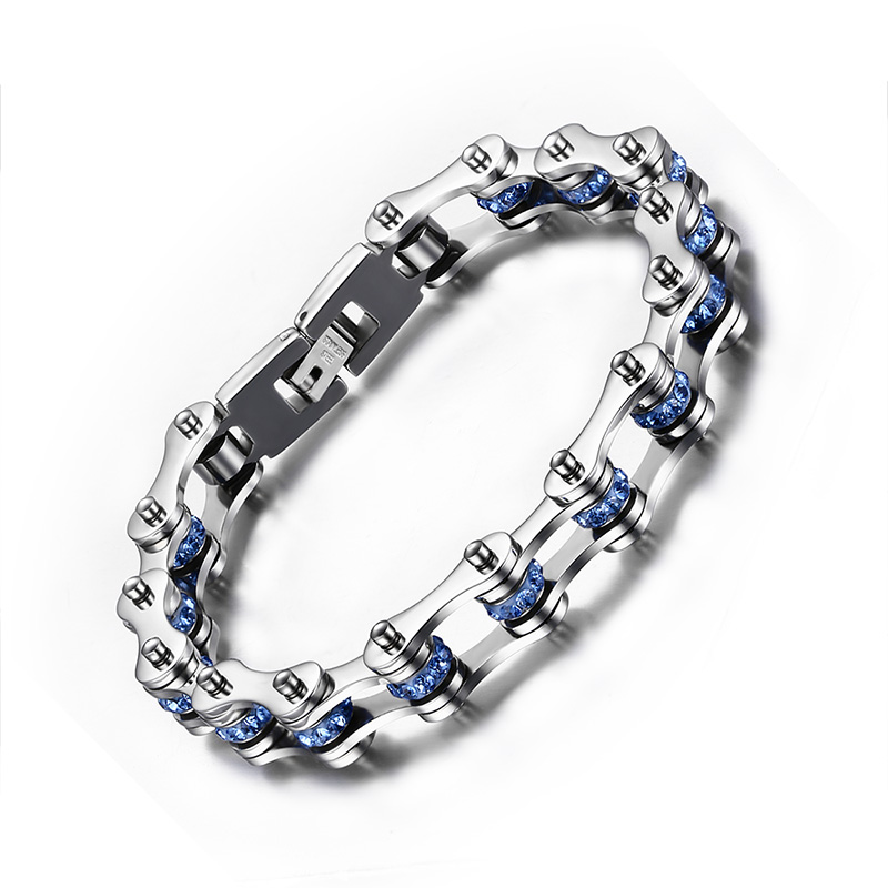 Men's Woman's Polished Stainless Steel Blue Black Cubic Zirconia Bicycle Link Chain Bracelet Jewelry Gift- 9 inches (10mm Wide) titanium steel link cubic zirconia studded couple bracelet