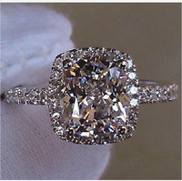 Lady S S925 Silver Diamonique White Sapphire CZ Crystal Stone Wedding Rings Designer Inspired US Size