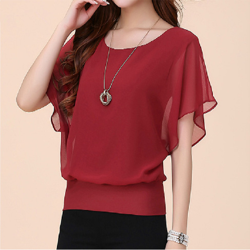 2018 Wome Summer Chiffion Tops Solid Ruffles Batwing Sleeve O-neck Blouses Fashion Office Lady Mujer Blusas Plus Size