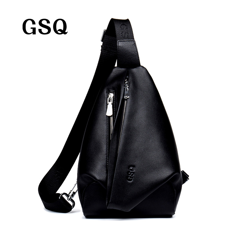 ФОТО GSQ New Arrival Men Chest Bag 100% Genuine Leather Men Bag Brand Designer Leather Messenger Bags Casual Mens Crossbody Bags