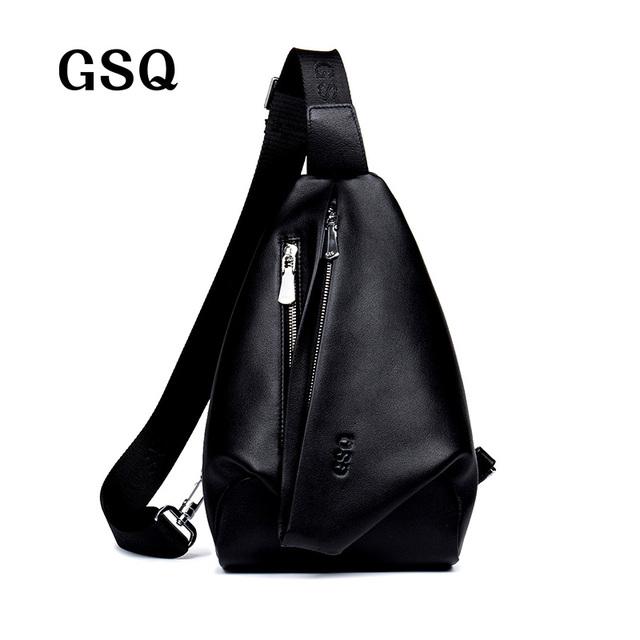 Saco peito homens gsq nova chegada 100% genuínos homens de couro saco de marca mensageiro sacos de couro designer casual mens crossbody sacos